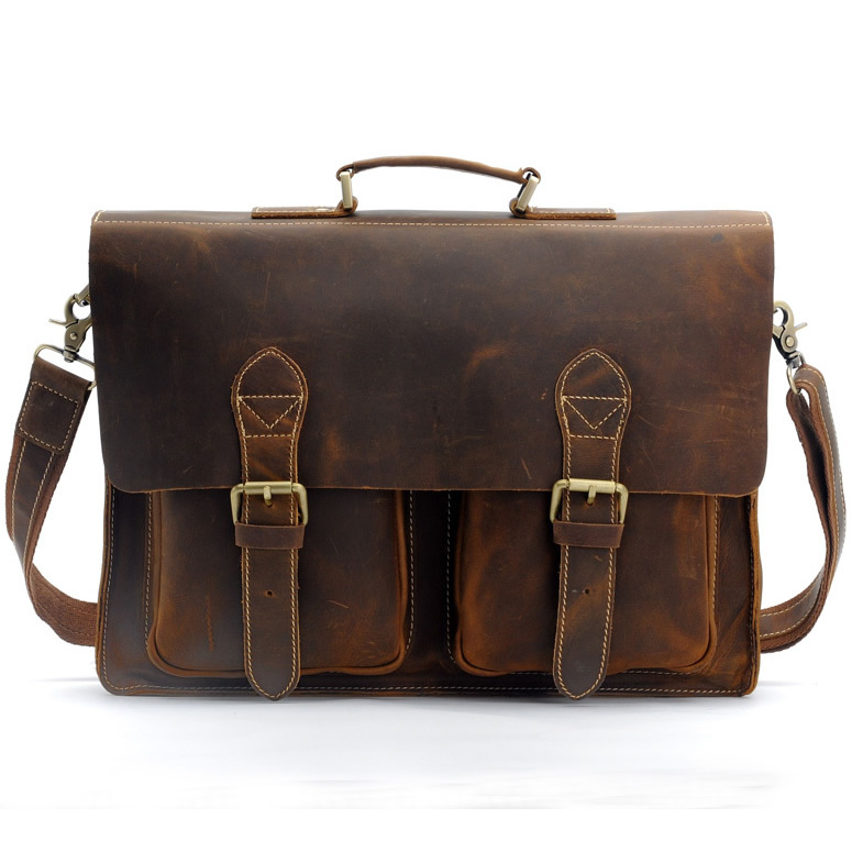 Men's Handmade Vintage Leather Briefcase / Leather Messenger Bag ...