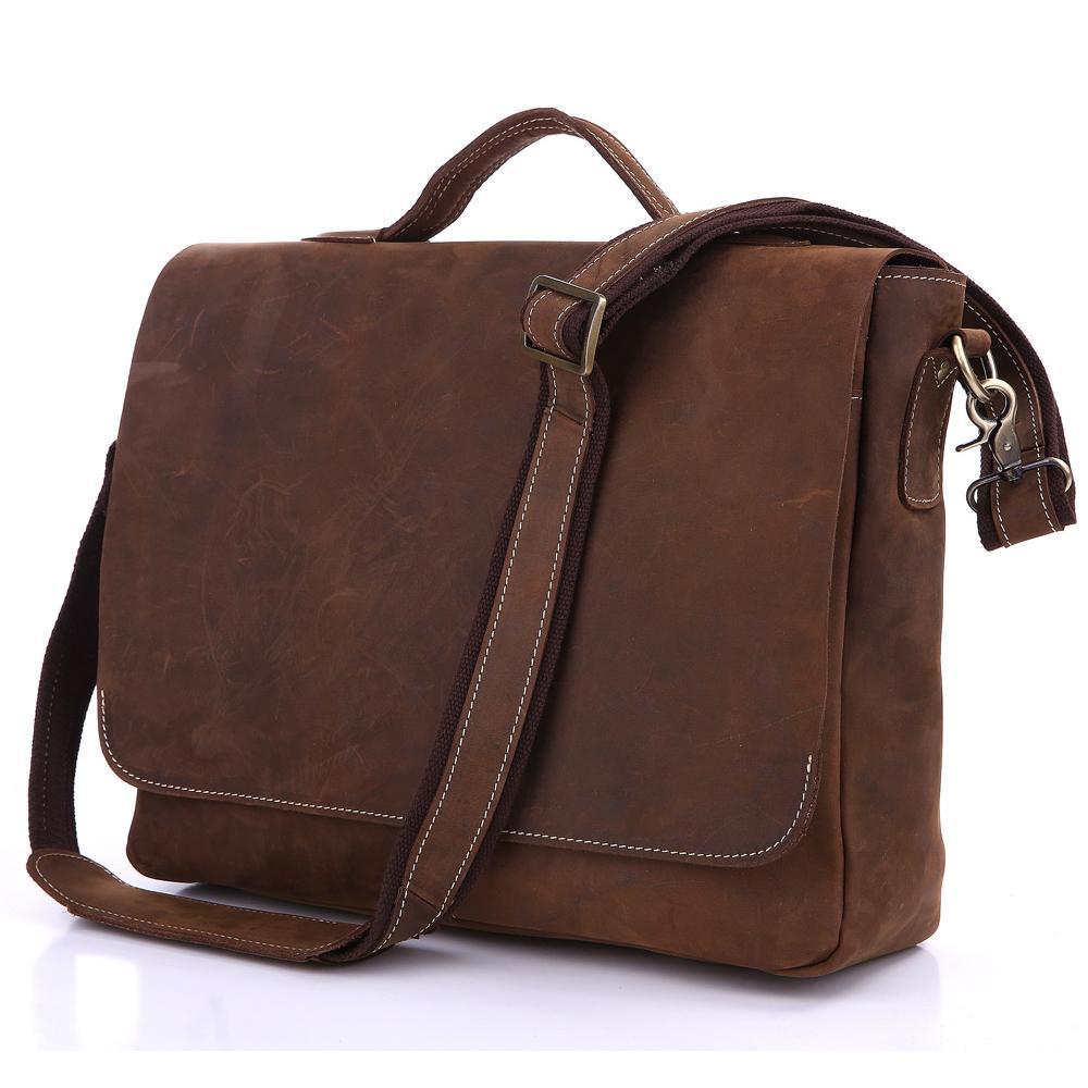 Handmade Vintage Leather Briefcase / Leather Messenger Bag ...