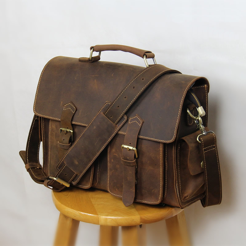handmade vintage leather messenger bag leather briefcase