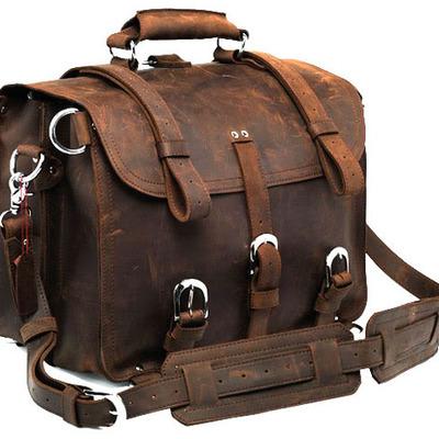 Men's Large Handmade Vintage Leather Satchel / Leather Briefcase ...