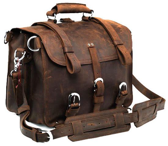 Men's Large Handmade Vintage Leather Satchel