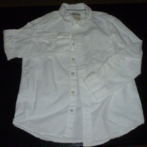 White Long Sleeve Shirt W/Buttons/Collar-Cherokee Size Medium 8/10
