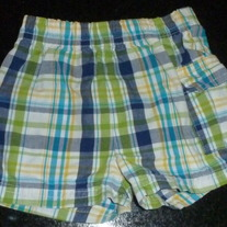 Green/Yellow/Blue Plaid Shorts-Garanimals Size 3-6 Months