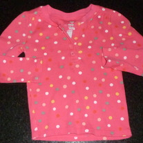 Pink Long Sleeve Shirt with Polka Dots-Old Navy Size 18-24 Months