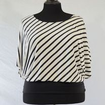 annabelle Black & White Striped Blouse
