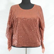 AWAKE by OS Copper/Rose Gold Sequin Blouse