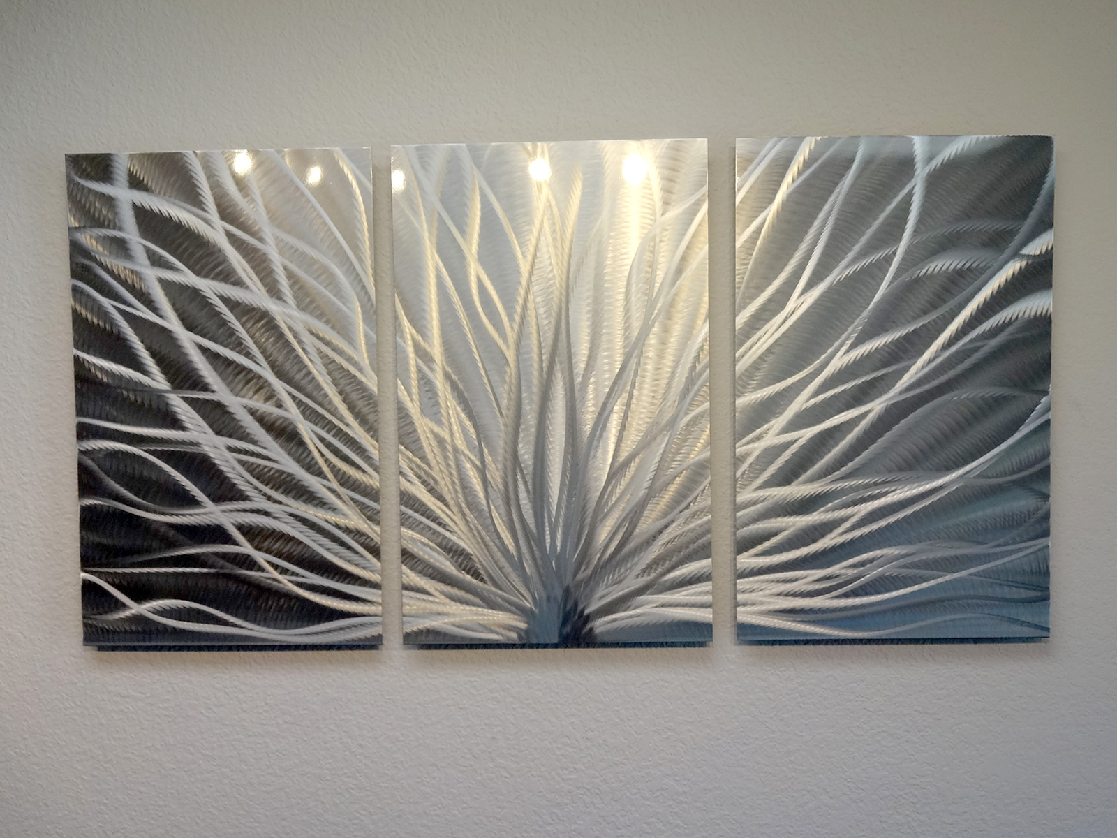 Radiance 3 panel metal wall art abstract contemporary for Bronze wall art