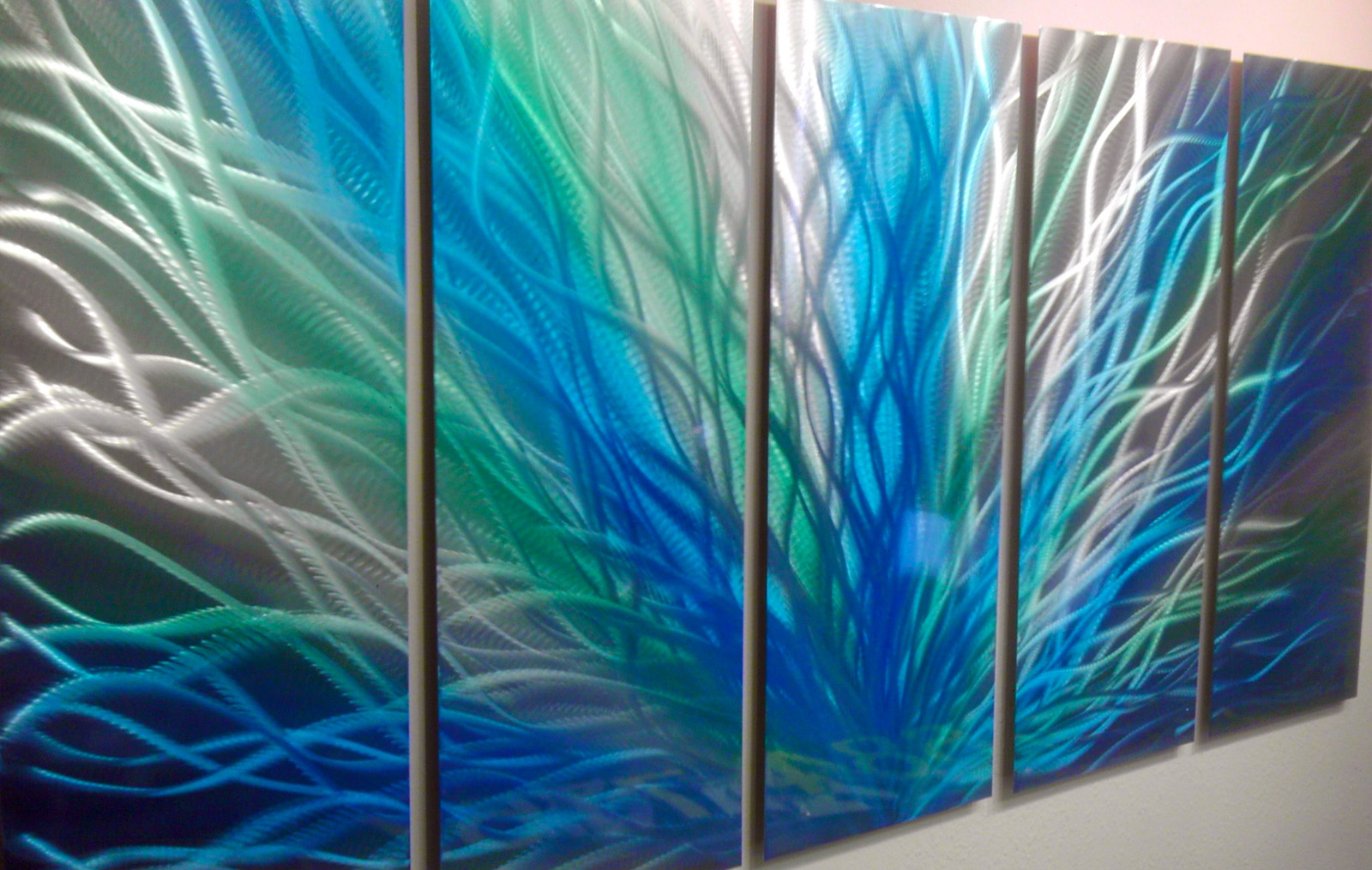 Blue Metal Wall Art Classy Radiance Large Green Blue Metal Wall Art Contemporary Modern Decorating Inspiration