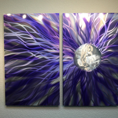Solare Purple - Abstract Metal Wall Art Contemporary Modern Decor ...