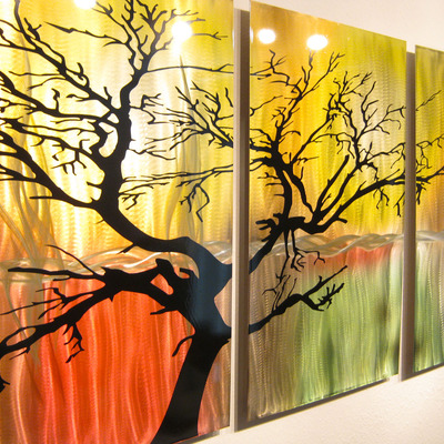 Tree in Silhouette- Metal Wall Art Contemporary Modern Decor- 3 ...