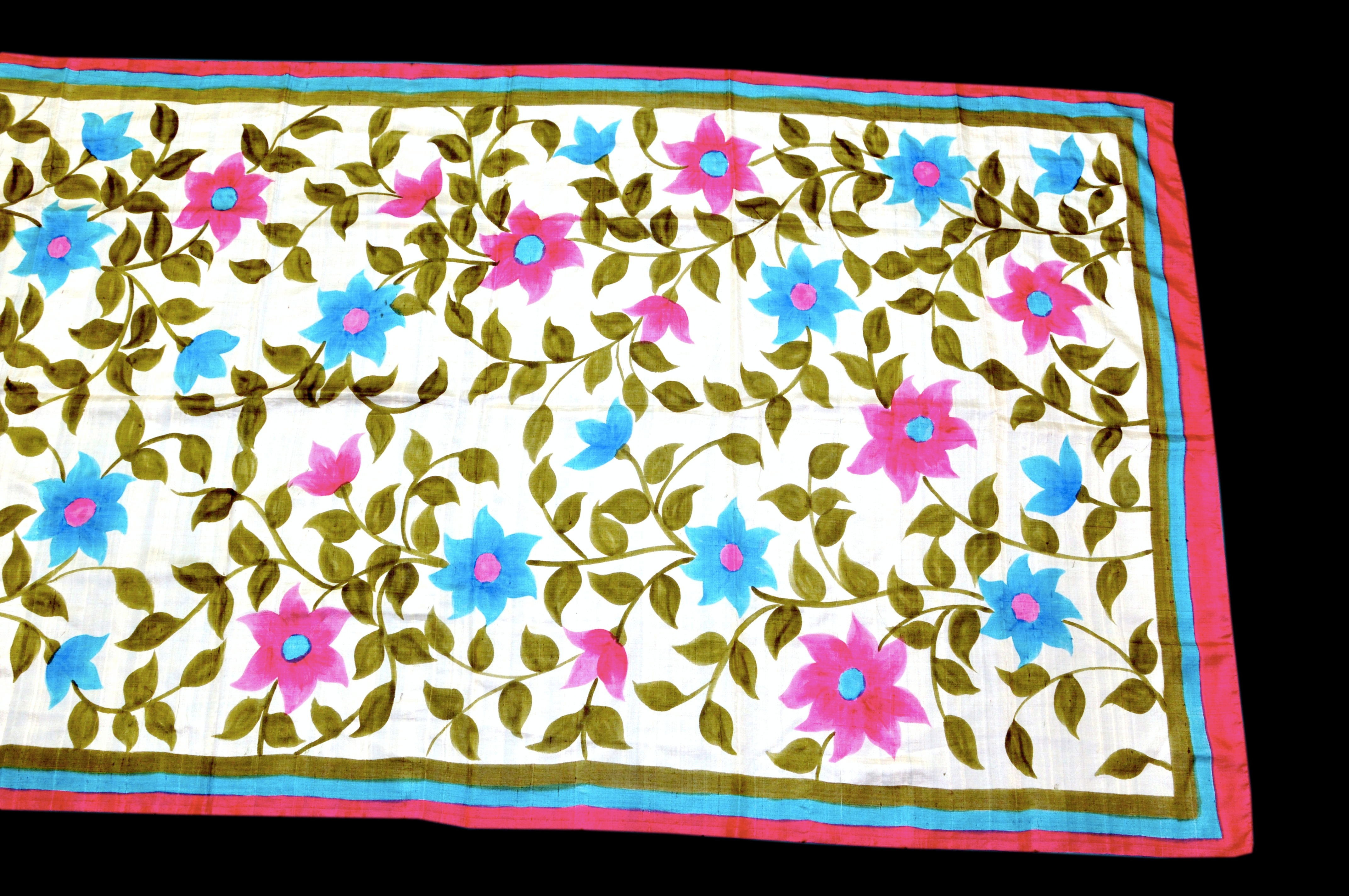 New hand painted block printed indian art on pure silk for Craft supplies online india cash on delivery