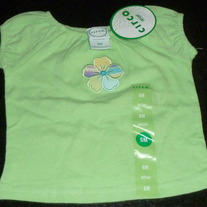 Green Short Sleeve Shirt with Flower-NEW-Circo Size 6 Months
