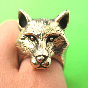 3D Adjustable Fox Werewolf Animal Ring in Shiny Gold with Fur Detail