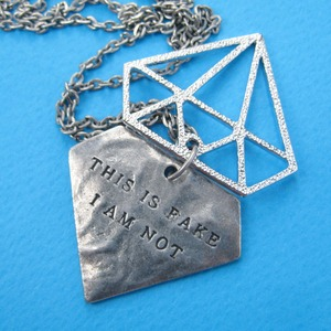 "Diamond Shaped ""This is Fake I am not"" Charm Necklace in Silver"