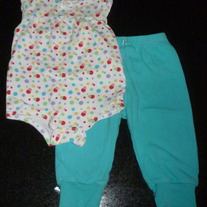 Sleeveless Onesie with Multi Color Dots and Matching Pants-Baby Okie Dokie Size 6-9 Months  CLM1