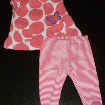 Pink Polka Dot Short Sleeve Butterfly Shirt with Matching Stripe Pink/White Pants-Just One You Size 0-3 Months  CLM1