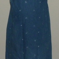 Long Denim Dress with Flowers-Motherhood Size Medium