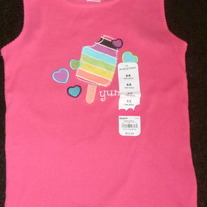 Pink Tank Top with Ice Cream/Hearts-NEW-Jumping Beans Size 6X