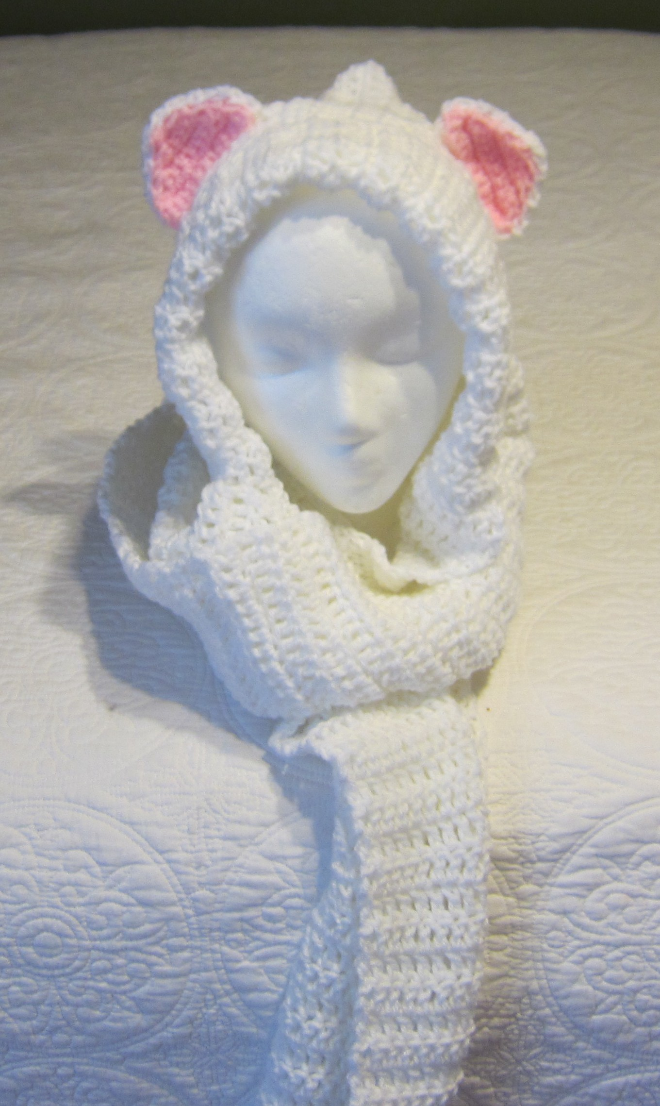 hooded scarf: NEW 309 CAT HOODED SCARF CROCHET