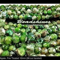 Green Agate (Fire Treated 96 cut faceted) 10mm