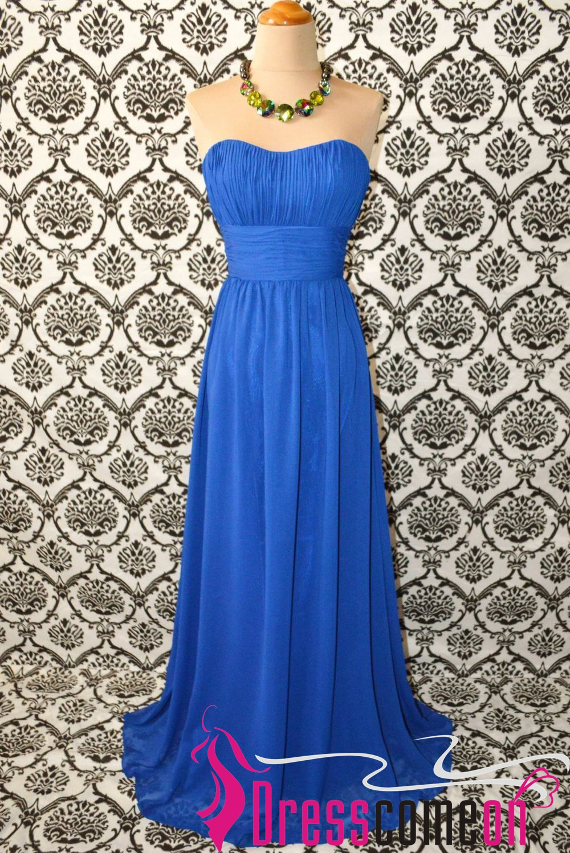 Custom A line Royal Blue Chiffon Floor Length Bridesmaid Dress Prom ...