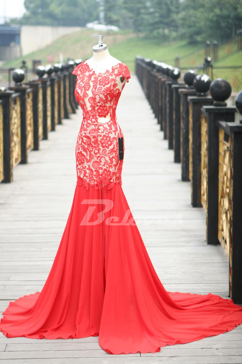 Red Lace Cap Sleeves Mermaid Prom Dress With Open Back · Beloves ...