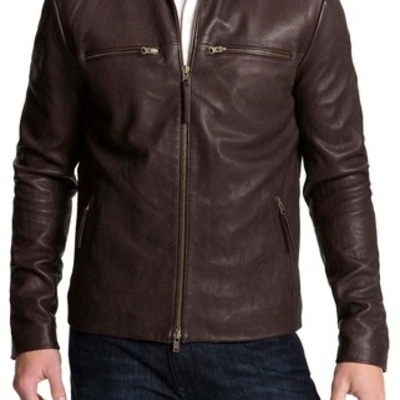 HANDMADE MENS BIKER LEATHER JACKET, MENS BROWN COLOR FASHION ...