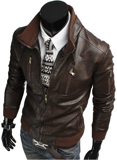 HANDMADE MENS BIKER LEATHER JACKET, MEN BROWN BIKER LEATHER JACKET ...
