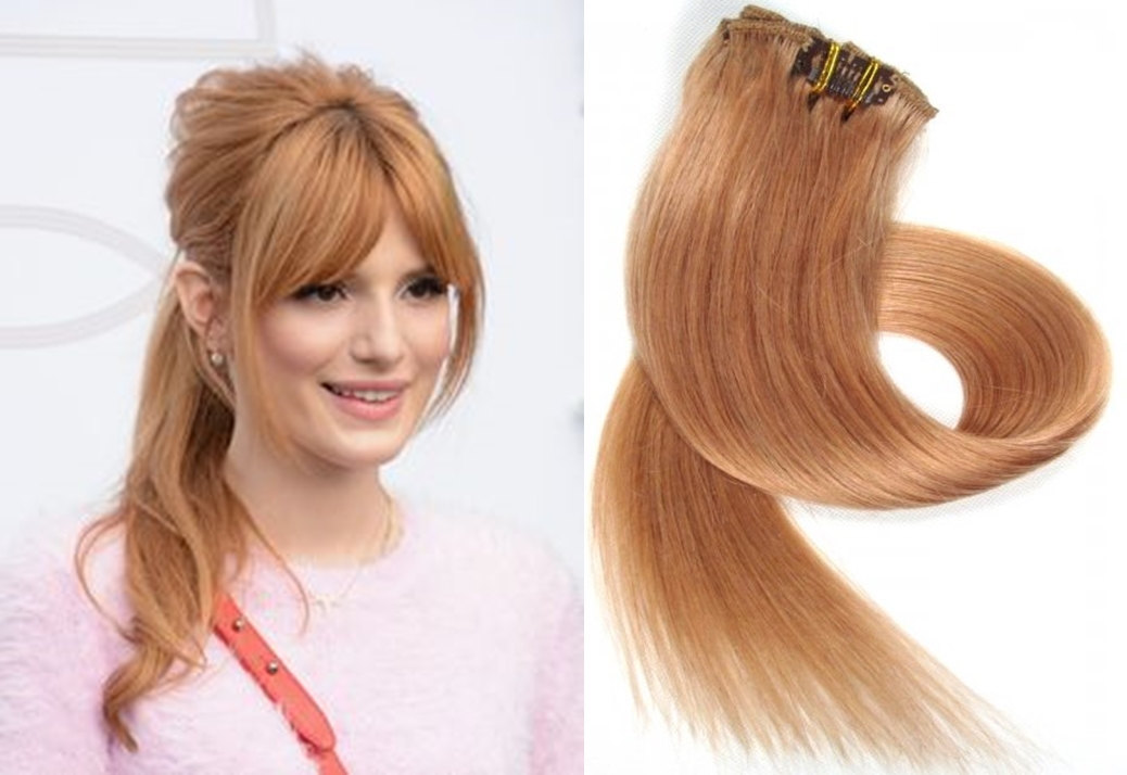 Clip In Real Human Hair Extensions18 Inch Strawberry Blonde