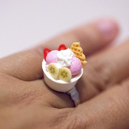 Kawaii Cute Japanese Ring Ice Cream Sundae Dessert On