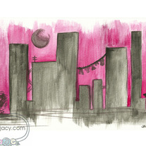 """Night Time Glam"" 8x10 Matte Print Watercolor Urban Cityscape Illustration"