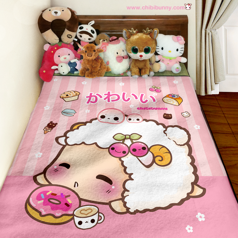 Kawaii Sheep And Cute Donut Fleece Blanket FB40 Chibi Bunny Stunning Cute Fleece Throw Blankets