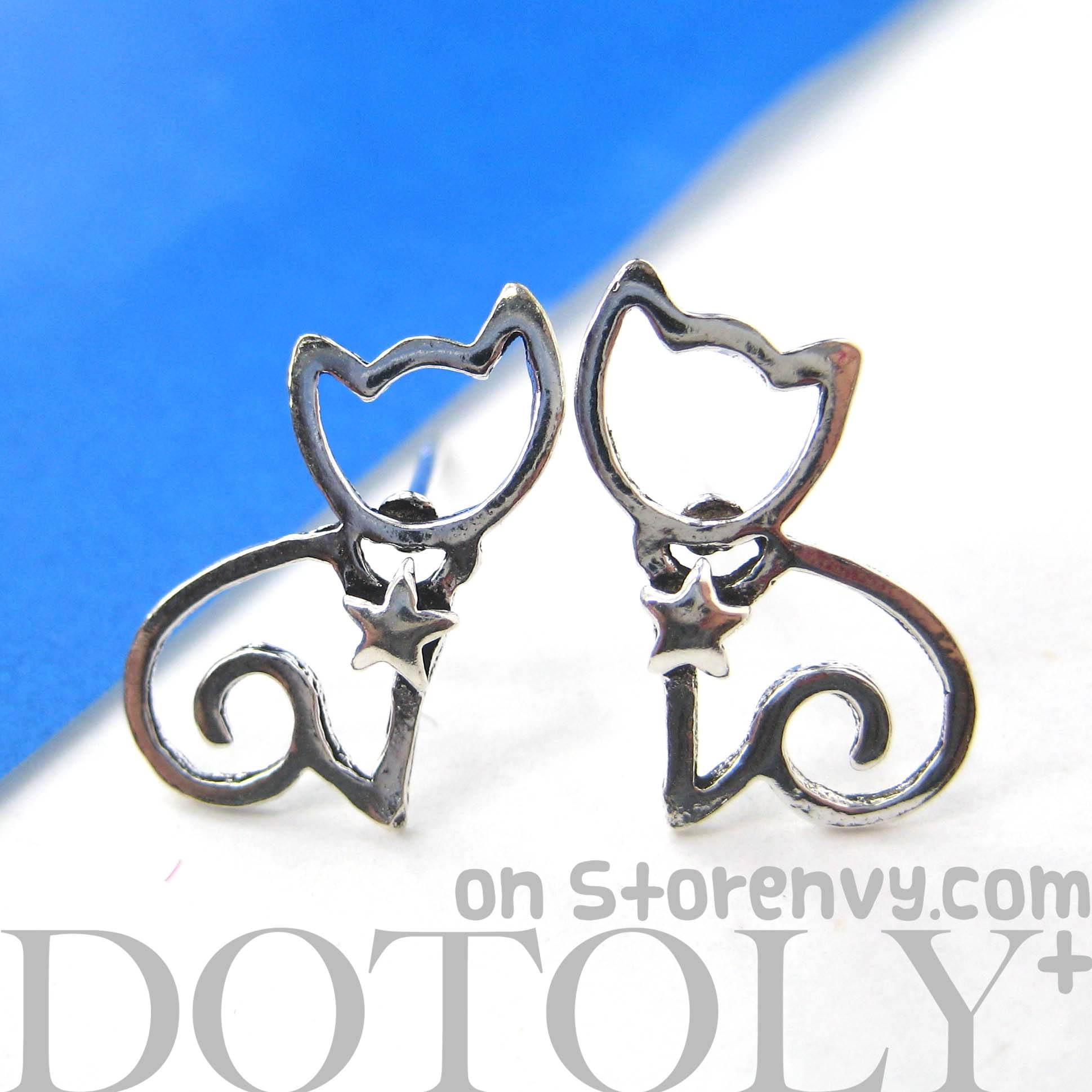 Small Kitty Cat Animal Stud Earrings With Star Detail In Sterling Silver   Thumbnail 1