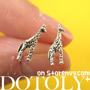 Tiny Giraffe Animal Stud Earrings in Sterling Silver