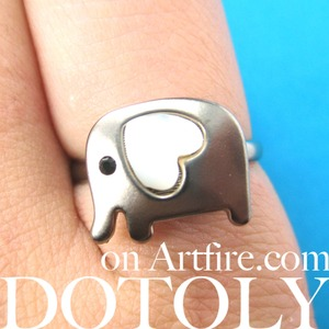 Adjustable Cute Elephant Ring in Dark Silver with Pearl Heart Shaped Ears