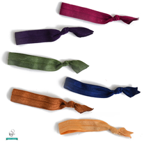 Elastic Hair Ties - Jeweltone Colors - Set of 6