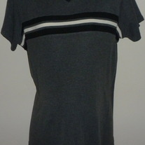 Gray Short Sleeve Shirt with Black/White Stripe-Dividends Maternity Size Medium  CLLO