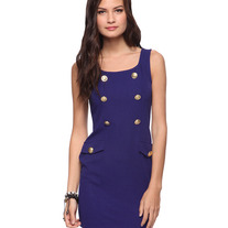 navy blue gold button military sleeveless sheath mini dress