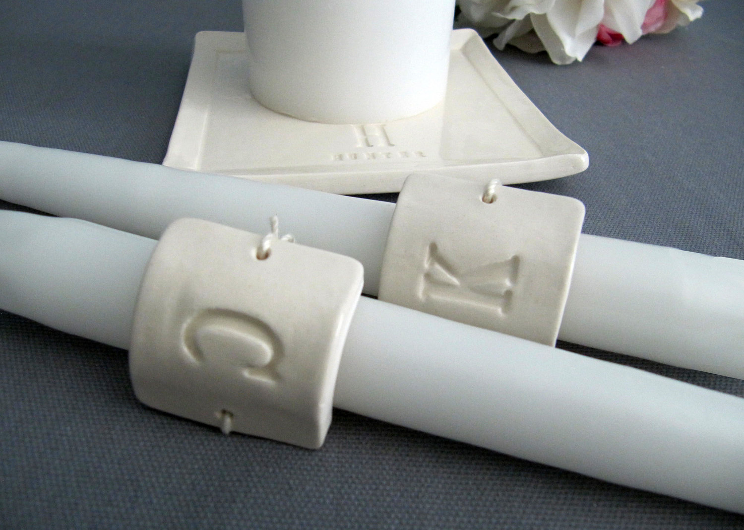 Square Personalized Unity Candle Ceremony Set Monogrammed Gift Boxed From Susabella