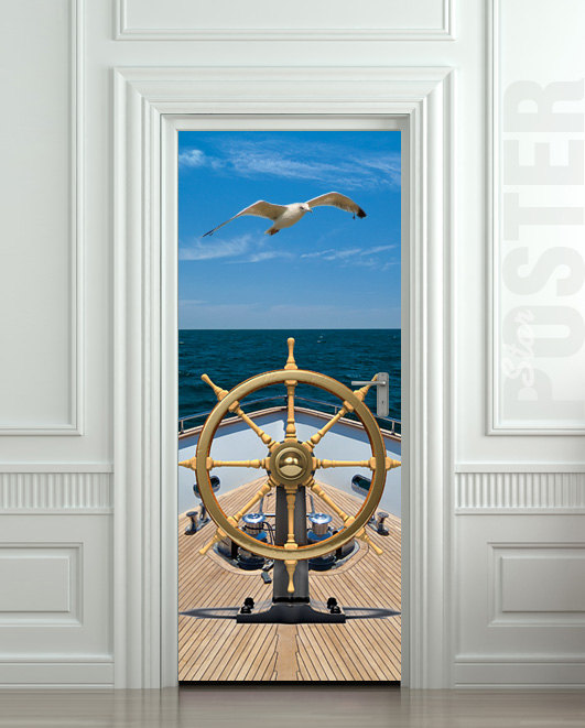 door sticker ship sea captain trevel ocean gull bird mural decole film self adhesive poster. Black Bedroom Furniture Sets. Home Design Ideas
