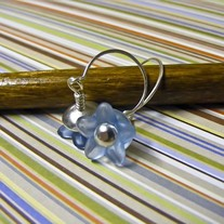 Silver and Blue Lucite Earrings