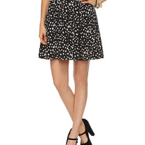 M full twirl pleated white polka-dot black rockabilly skirt
