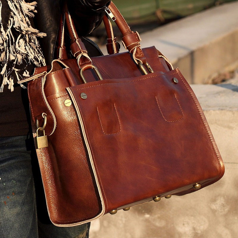 Handmade Women's Leather Handbag / Leather Briefcase / Leather ...