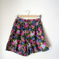 Vintage Super High Waist Wide Floral Shorts (Skirt-Like SKORT)