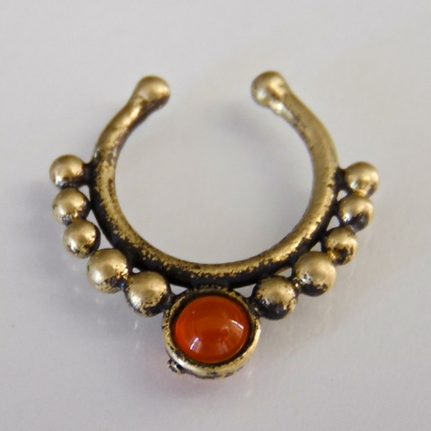 oxidized brass septum for non pierced nose septum