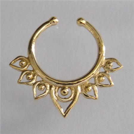 unique brass septum for non pierced nose septum jewelry