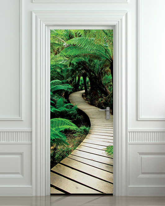 Door sticker palm tree path mural decole film self for Door mural stickers