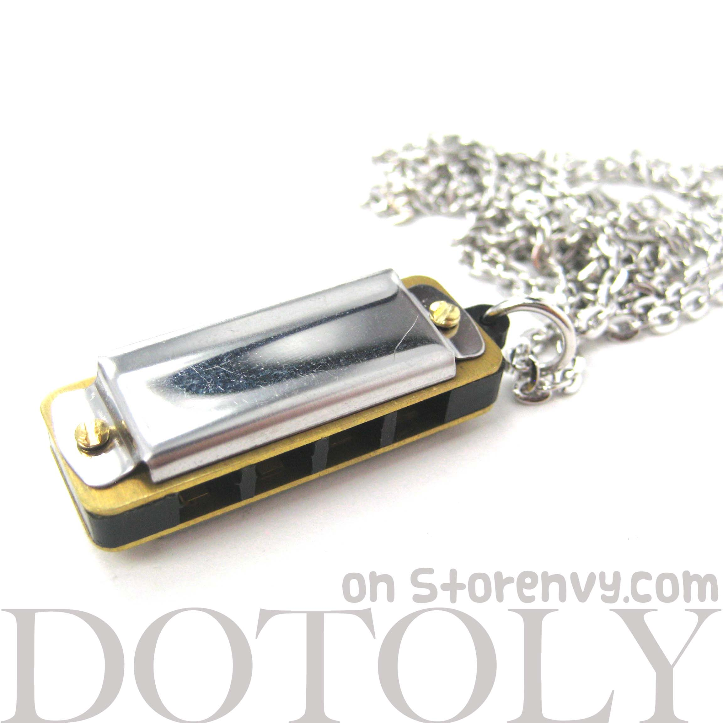 simple mini harmonica necklace in silver it works