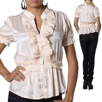 S cream off-white lace steam punk blouse lace short puff sleeve victorian shirt
