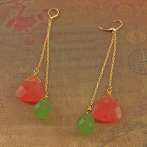 Kiwi Chalcedony & Strawberry Quartz Goldfill Earrings